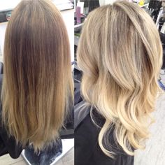 A lovely full head of light blonde highlights on our client by…