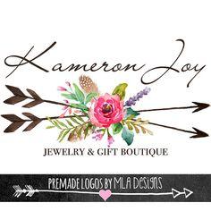 Arrows & Flower Posie Custom  Logo Design -  Premade Logos for Business Cards Stationary Print Boho Rustic Watercolor Floral Designs
