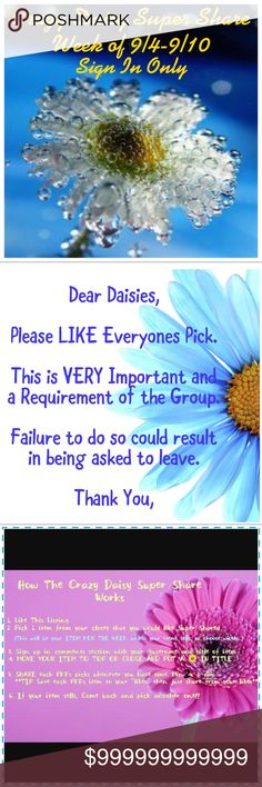 New Dear Daisy Msg Below Welcome to one of The Largest and Fastest Growing Groups on Post. We are a Large group of women dedicated to sharing closets, knowledge, and friendship. We regularly have over 120 closets, but you only have to Like and share 1 Pick 2x a day. All closet sizes welcome. All we ask is that you honor your commitment of Sharing. Non-sharers will not be asked back. Other