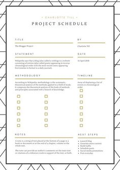 White with Black and Gold Accents Classy Project Schedule Planner
