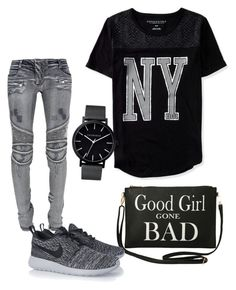 """Good girl gone bad"" by torigwin on Polyvore featuring Aéropostale, Balmain, The Horse, Torrid and NIKE"