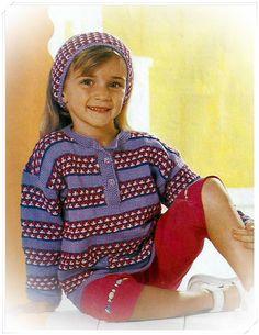 фото Полосатый пуловер и на лобная повязка крючком и спицами