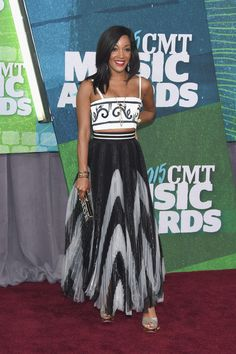 Mickey Guyton Mickey wore a two-piece black and white outfit