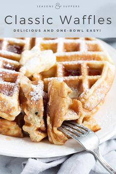 Simply Perfect Classic Waffles - These Simply Perfect Waffles are one bowl and a spoon easy and made with simple pantry staples. My idea of perfect! Fluffy and flavourful on the inside and crispy on the outside. And one bowl easy! Breakfast And Brunch, Breakfast Waffles, Breakfast Dishes, Best Breakfast, Breakfast Recipes, Yummy Waffles, Pancakes, Fluffy Waffles, Mexican Breakfast
