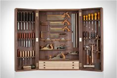 Tool Cabinet - Haberdashery & Tools - Books, Bags & Stationery - The Conran Shop UK Woodworking Tool Cabinet, Unique Woodworking, Woodworking Hand Tools, Woodworking Workbench, Woodworking Workshop, Woodworking Projects, Intarsia Woodworking, Woodworking Furniture, Best Hand Tools