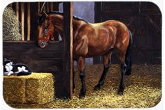 Horse In Stable with Cat Mouse Pad - Hot Pad or Trivet BDBA0295MP #artwork #artworks