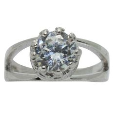 Gioelli Sterling Silver Crown-set Round Cubic Zirconia Ring