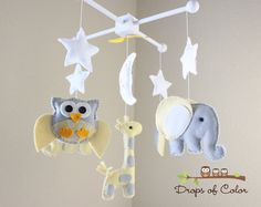 Baby Crib Mobile Baby Mobile Owl Giraffe and by dropsofcolorshop