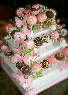 Cake topped with cake pops