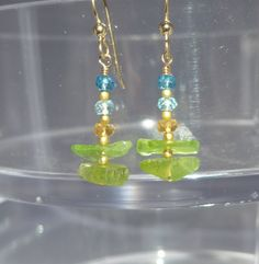 Peridot Earrings, raw peridot earrings, Peridot Rough, Gemstone Earrings, Green Earrings, raw gemstone earrings by ThreeMagicGenies on Etsy