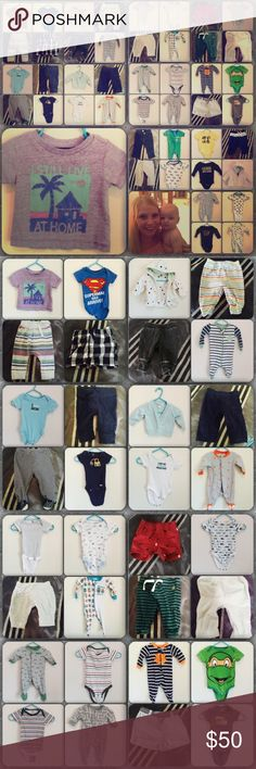 Huge 34 +Piece Baby boys 0-3 Month Lot! EUC NWT Great mixed lot of 0-3 month boys clothes. Gap, Gymboree, children's place, carters.   Please review the pictures as all 24 + pieces are listed and photographed.   Though some items are NWT, most are used clothes. Enjoy  Please feel free to ask questions PRIOR to your purchase should there be any confusion💁🏼🛍 Mixed Matching Sets