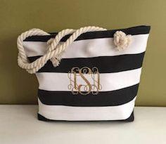 Black and white striped monogram tote bag