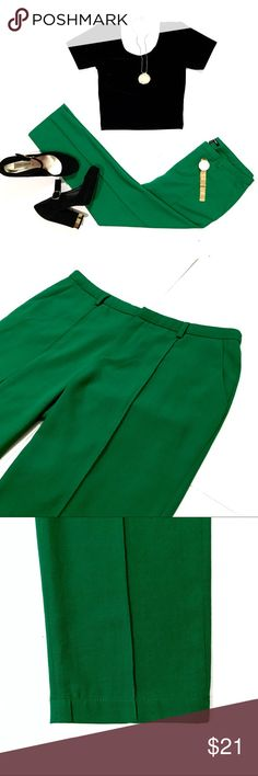 "SALE‼️Good Time Kelly Green Ankle Pants w/ Crease Ankle pants by Good Time in awesome kelly green! The color & sewn in vertical crease is was I believe makes these so special. The crease gives them a sharp, elegant look on what can be worn casually or with heels. Size M. W: 33"", L: 34"", inseam: 26"", bottom leg opening: 6.5"". Comfy fabric is 97% poly, 3% elastane. EUC. 2 front pockets. I can see these on that someone w/ a fashion forward sense, paired w/ a leopard bustier or crop top. Add…"