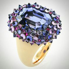 @taffinjewelry. 18.73 carats natural Ceylon sapphire, spinel, ceramic a d rose gold ring.