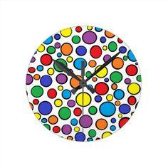 Colorful Polka Dots Clock