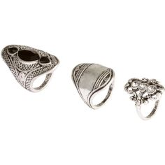 H&M 3-pack rings ($12) ❤ liked on Polyvore featuring jewelry, rings, accessories, silver, h&m, h&m jewelry and h&m rings