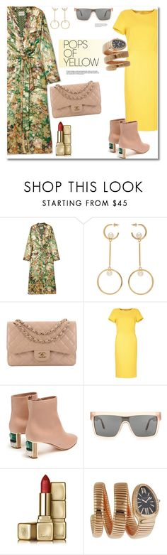 """Get the look pop of Yellow"" by vkmd ❤ liked on Polyvore featuring Etro, Chloé, Chanel, Gabriela Hearst, Victoria Beckham, Guerlain, Bulgari, PopsOfYellow and NYFWYellow"