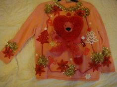deb's womans plus size 1X pink lion animal ugly christmas sweater tacky red funny by keriblue4 on Etsy