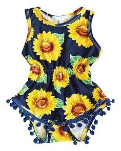 Sunflower Pom Pom Romper #BabyTips
