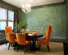 chandelier dining room chinoiserie | massucco warner miller dining room oval table crystal chandelier bird ...