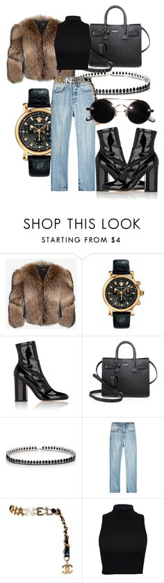 """#Look:#423"" by dollarwomanlux ❤ liked on Polyvore featuring Adrienne Landau, Versace, Valentino, Yves Saint Laurent, Fallon, Alexander McQueen and Chanel"