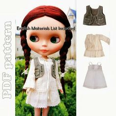 Cute Blythe Vest, Tunic Dress and Under Dress Sewing Pattern PDF | CraftyLine e-pattern shop