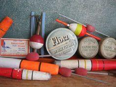 ANtique/Vintage - Fishing Tackle - Pflueger Tins, Wooden Bobbers/Floats, Belknap Line, Flotz Fly Line Dressing and MORE