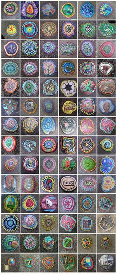 Ben Wilson, outsider artist of London, his canvas? chewing gum on the pavement. Outsider Art rules