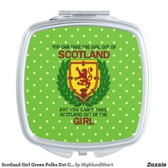Scotland Girl Green Polka Dot Compact Travel Mirror