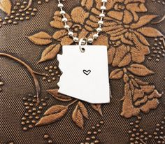 Arizona Necklace, Personalized Jewelry, Hand Stamped Necklace, Long Distance Relationship, State Necklace, Map Necklace, Heart State on Etsy, $14.95