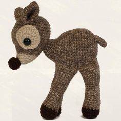 This delicate fawn is crocheted with variegated brown and linen colored acrylic yarn. Made using the Friends Forever Fawn pattern in the Amigurumi! Super Happy Crochet Cute book by Elisabeth A. Doherty.