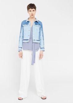 Two-tone wash denim jacket | MANGO