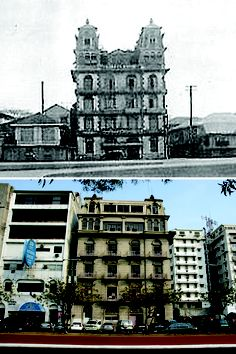 The Luneta Hotel along Dewey Boulevard, possibly in the 1920s and along Roxas Boulevard in 2003.