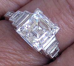 Art Deco Platinum Asscher Diamond F VS1 by myvintagediamondring, $42500.00