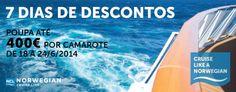 Aproveite entre 18 a 24 Junho 2014 descontos de 50€ a 400€ quando reservar o seu cruzeiro a bordo da Norwegian Cruise Line  #cruzeiros #norwegian #viagensdesonho