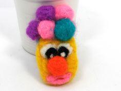 Clown Brooch by Golden Heart Crafts Golden Heart, Heart Crafts, Brooches, Yellow Things, Brooch