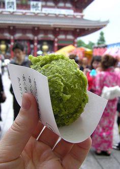 Deep-fried sweet bun flavored with powdered green tea, Tokyo, Japan