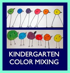 kinders - cute birds to follow colour mixing activity