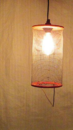 Repurposed fishing bait trap hanging pendant lighting by UpReNew, $45.00