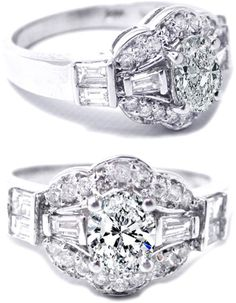 Oval Diamond vintage engagement ring