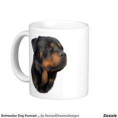 Rottweiler Dog Portrait Print Coffee Mug