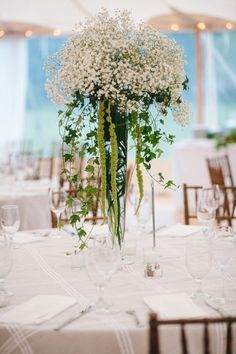 Gypsophila/ Ivy centerpiece - Backyard Norwell wedding by Lisa Rigby Photography