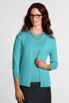 Women's Performance 3/4-sleeve V-neck Cardigan from Lands' End