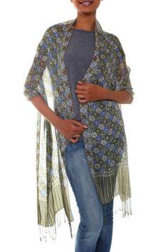 Silk-Batik-Shawl-Tan-Blue-Handmade-Indonesia-039-Floral-Stars-039-NOVICA-Bali