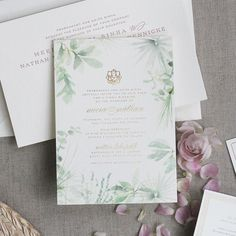 Meera and Nate's custom invitation suite featured a special commissioned…