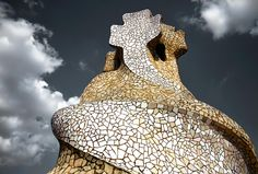 Rooftop Of La Pedrera Casa Milà better known as La Pedrera meaning the 'The Quarry', is a building designed by the Catalan architect Antoni Gaudí and built during the years 1906–1912.. Photo Joanna Madloch