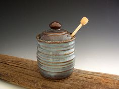 Honey Jar in Rustic Iron Blue  Pottery Honey by DirtKickerPottery, $40.00