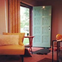 ♡ Painted front door Tantalizing Teal from Sherwin Williams ♡ Gray Hallway, Painted Front Doors, Paint Colors, New Homes, House Ideas, Teal, Yard, Curtains, Painting
