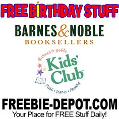 ►► FREE BIRTHDAY STUFF - Barnes & Noble ►► #BDay, #Birthday, #BirthdayFreebie, #BirthdayGift, #FreeBirthdayStuff, #FrugalFind, #FrugalLiving, #HappyBirthday ►► Freebie Depot