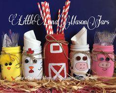 Old McDonald barn and farm animal themed mason jar set, includes 1 quart and 4 pint jars, birthday party decor, nursery decor